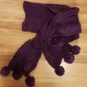 Dark Eggplant Purple Knit Scarf with Poms